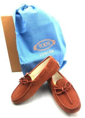 TOD'S JUNIOR Unisex Gommino Moccasins in Red (rust) Suede Kids US SIZE 1 - NEW!