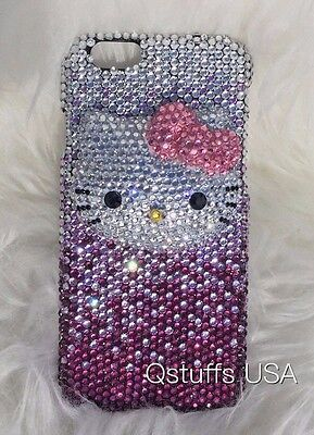 3D hello kitty fit iPhone 7 / 8 crystal case bling diamond purple phone -