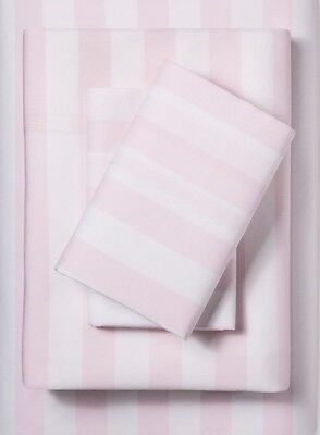 Rachel Ashwell Wholly Shabby Chic Rose Pink White Cabana Stripe QUEEN Sheet Set