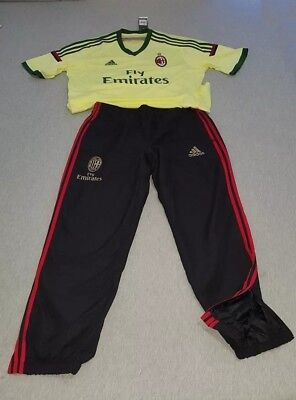 AC MILAN ADIDAS 3rd Peacit Yellow Green JERSEY  D87207  + Black RED PANTS  XL LOT fa1a6d5446122