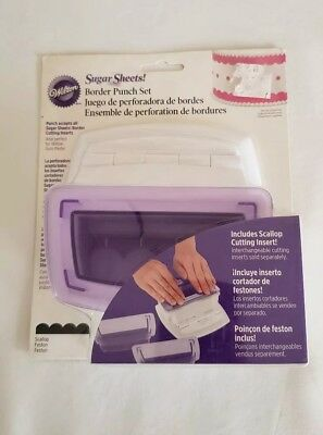 WILTON Sugar Sheets Border Punch Set Scallop Cake Decorating New