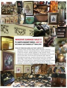 Massive Garage Sale:Sat.Sept. 22, 8-2 unit 57-71 Garth Massey Dr