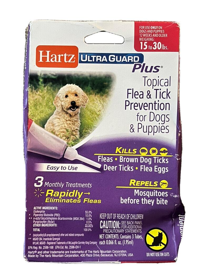 Hartz UltraGuard Plus Topical Flea Tick Prevention Dogs Puppies 15-30lbs 3 Mon - $9.49