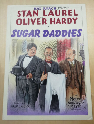 "Stan Laurel Oliver Hardy film ""Sugar Daddies"" 1927 RARE Original Illustration"