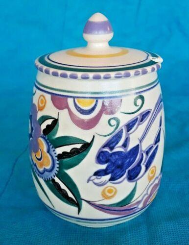 Antique Truda Carter Art Deco Poole England Sugar Bowl Lid Hand Made & Signed