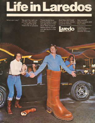 1976 vintage footwear AD LAREDO western boots  pic Giant Boot!   112317