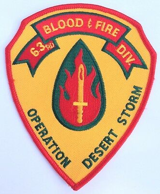 Us Army Operation Desert Storm 63rd Id Blood and Fire Uniform Patch for sale  Shipping to United Kingdom
