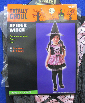 Spider Witch Halloween Costume Pink Dress Hat Totally Ghoul Girls Toddler 4 - 6 ](Toddler Girl Witch Halloween Costumes)