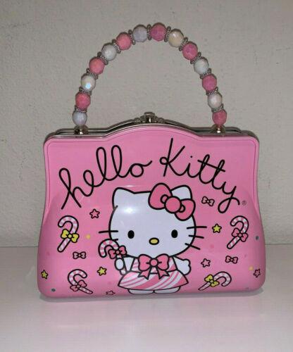 NEW HELLO KITTY SANRIO CHRISTMAS HOLIDAY CANDY CANE BEAD CUTE TIN LUNCH BOX BAG