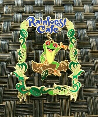 RAINFOREST CAFE RESTAURANT TREE FROG SWINGING COLLECTIBLE GOLD PIN VERY COOL