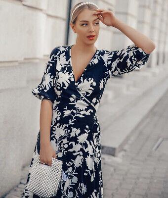 H&M Johanna Ortiz Crepe Wrap Black White Leaf Long Dress Bloggers Fav Size M New