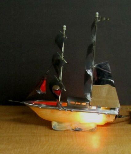 Vintage Glass & Chrome/Metal Sailboat Nautical TV Lamp Green Red Light MCM