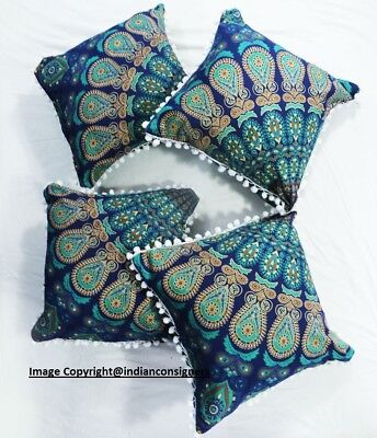 (Top quality Designer Square Cushion Cover 100 % Cotton unique Home Decor Mandala)