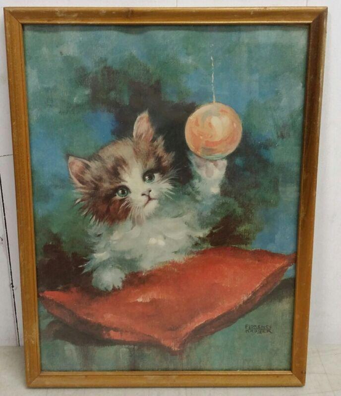 Vintage Framed Florence Kroger Kitten Cat Lithograph Print: Christmas Kitty