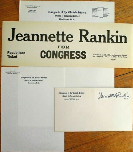 JEANNETTE RANKIN Letterheads/Cover & Ad, Suffrage-1st Woman in US Federal Office