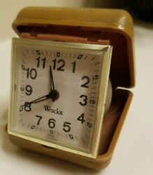 Vintage Westclox Travel Alarm Clock Folding Tan Case WORKS