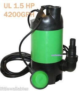1100w submersible pool pond ul 1 5 hp auto drain sub sump for Pond drain pump
