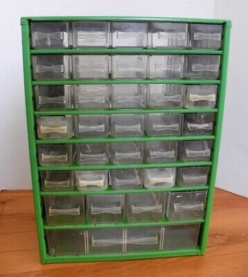 Vintage 35 Drawer Metal Nutbolt Small Parts Storage Cabinet Organizer Green