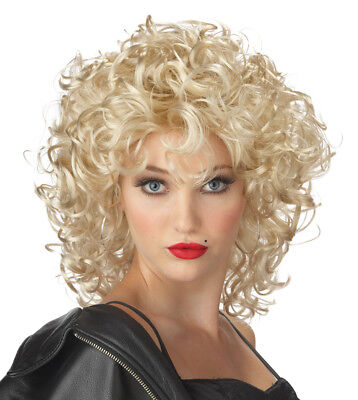 Adult 50s Grease Blonde Curly The Bad Girl Sandy Costume Wig