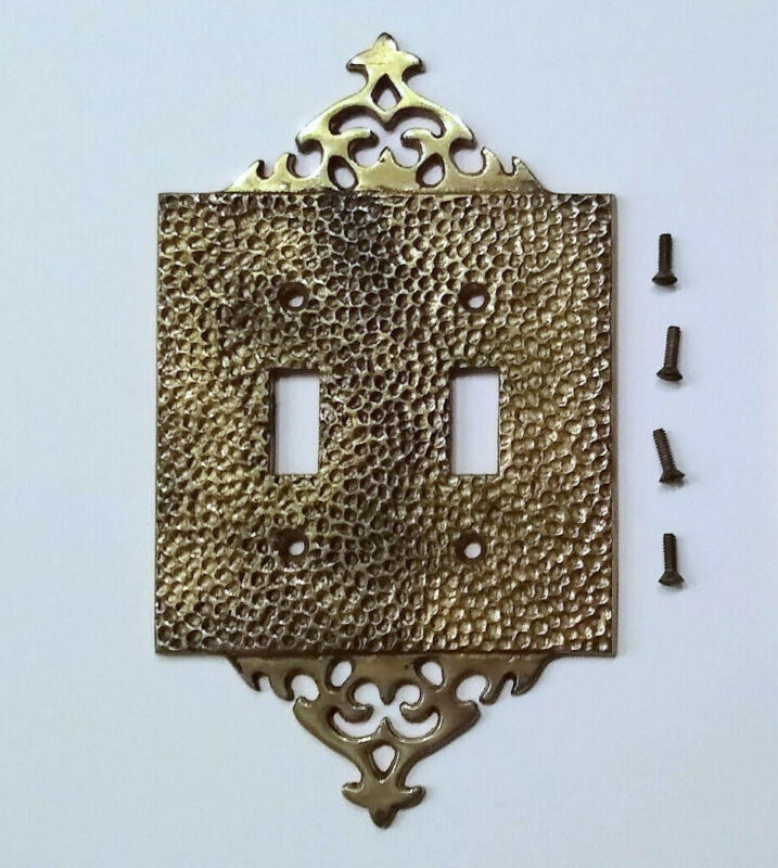 Hammered Brass Light Switch Plate Cover Double Mid-Century Modern Vintage