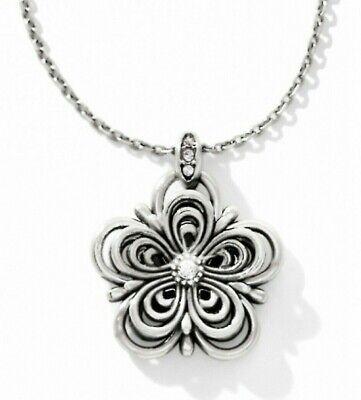 NWT Brighton SECRET GARDEN FLOWER Silver Pendant 3-D Necklace Crystal  MSRP -