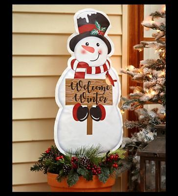 Frosty the Snowman Seasonal Greeter Yard Sign - Welcome Winter Front Door Decor
