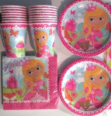 WOODLAND PRINCESS Birthday Party Supply Kit Decoration w/Plates,Napkins & Cups