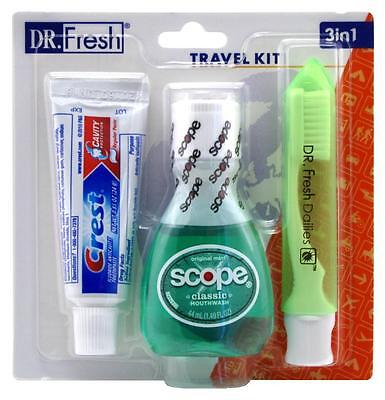 DR. FRESH TRAVEL KIT 3-IN-1 TOOTHPASTE/SCOPE/TOOTHBRUSH