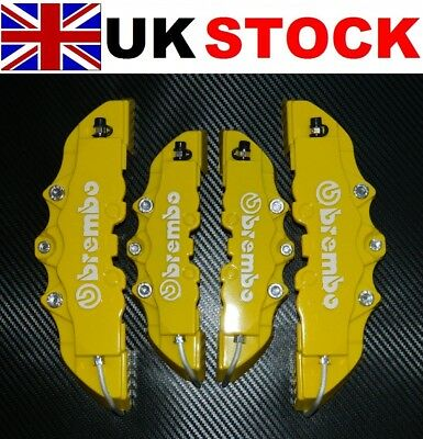 YELLOW Brake Caliper Covers DIY Kit 3D logo Front Rear 4pcs ABS 1.0 to 2.0 M+S