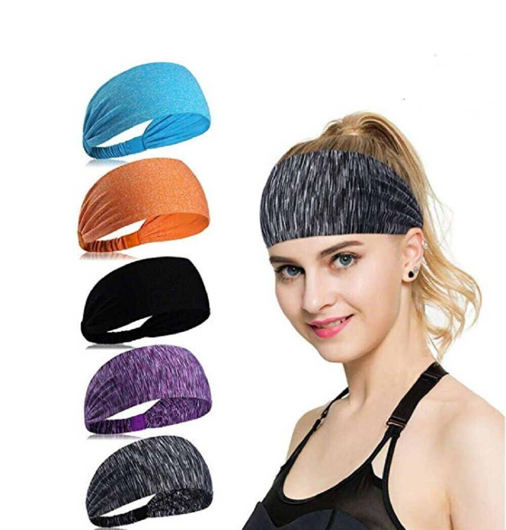 2Pc Men Women Sweat Sweatband Headband Yoga Gym Running Stretch Sports Head Band Clothing, Shoes & Accessories