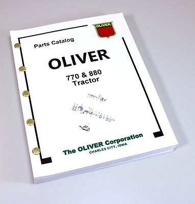 Oliver 770 880 Tractor Parts Assembly Manual Catalog Exploded Views Numbers