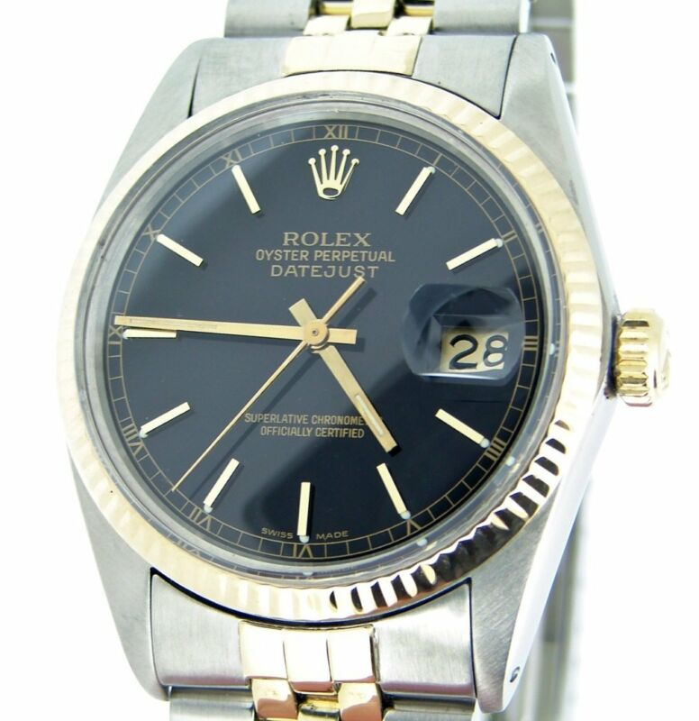 Rolex Datejust Mens Two-tone 18k Yellow Gold Stainless Steel Black Jubilee 16013