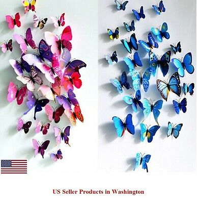 24 Pcs(2 Sets) 3D Butterfly Wall Stickers & Magnetic Decals Home Room Decor (Decor Home)