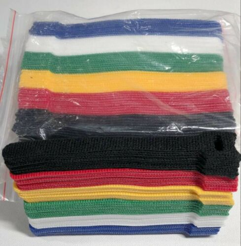 "120pcs Microfiber Cloth Cable Straps Hook Loop Reusable Fastening Cable  6"" Ties"