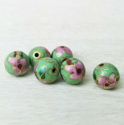 Mint Green Pink Flowers Cloisonne Chinese Enamel 10mm Round 6 Beads