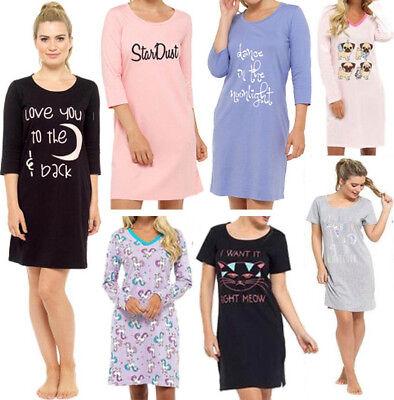 Nachthemd Schlafen (DAMEN Nachthemd Damen SCHLAFSHIRT Bigshirt  Pyjama Motto Spruch Baumwolle NEU)