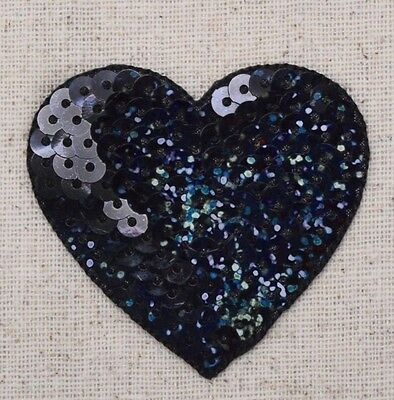 """Large Black 2"""" Sequin Heart - Valentine - Iron on Applique/Embroidered Patch"""
