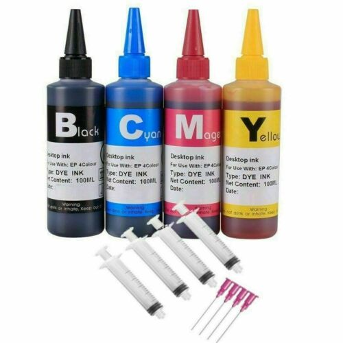 4 Pack 100ml Color Dye Ink Ink Refill Kit for EPSON Refillable Ink Cartridges