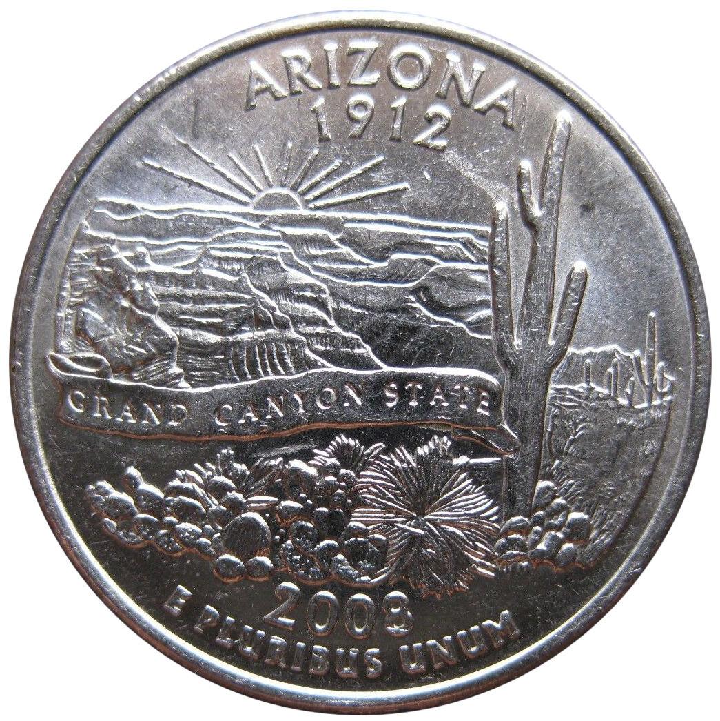 2008-P Arizona Extra Cactus Leaves Quarter