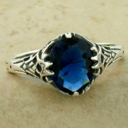 VICTORIAN ANTIQUE STYLE 925 STERLING SILVER ROYAL BLUE SIM SAPPHIRE RING   #1138