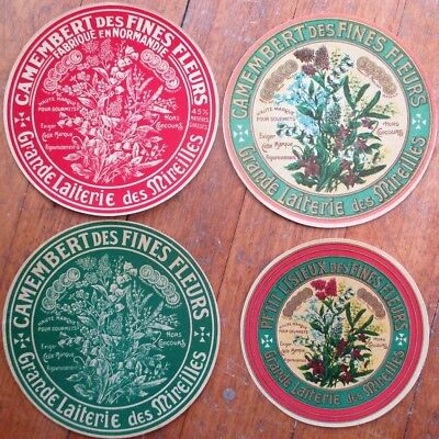 Cheese Labels FOUR DIFFERENT French 1910 Color Litho- Camembert des Fines Fleurs ()