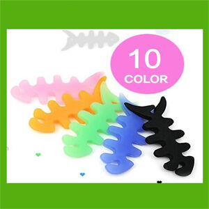 Silicone rubber fish bone earphone cable winder Organizer holder cord winder fun