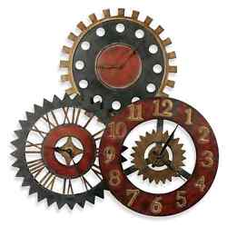 Rusty Movements Metal Gears Wall Clock Rustic Vintage Charm Home Art Decor Large