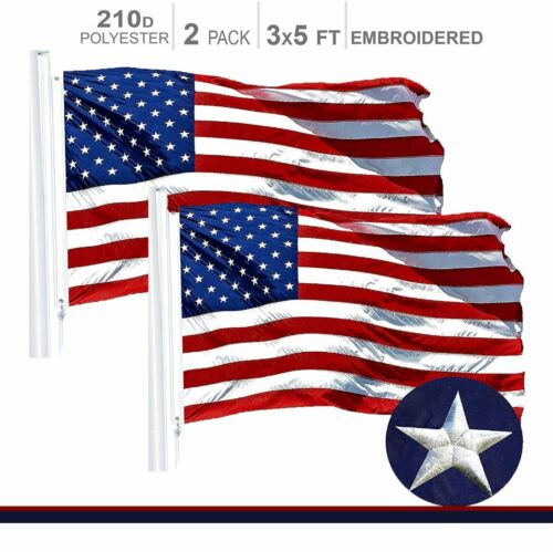 2-PACK | American Flag US USA | 3x5ft | Embroidered Stars, Sewn Stripes