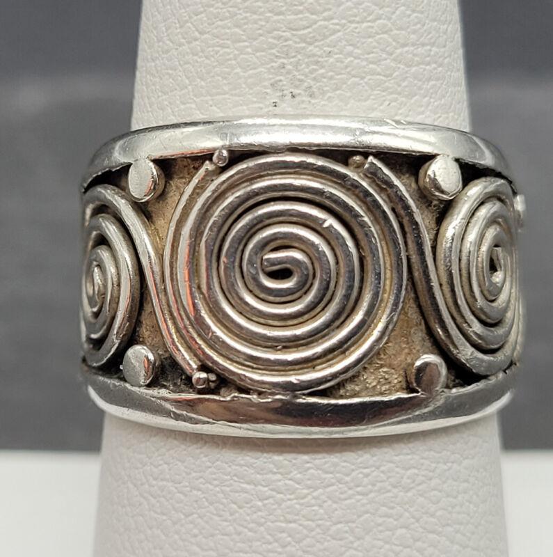 Vintage 925 Sterling Silver Modernist Swirls Ring Size 8