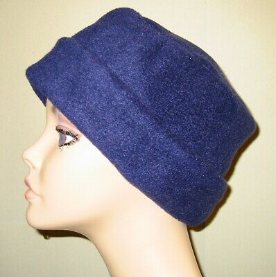 cancer chemo hat navy fleece pillbox alopecia