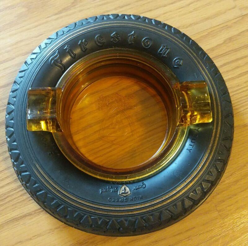 Firestone Tire Ashtray Amber Glass High Speed Gold Line
