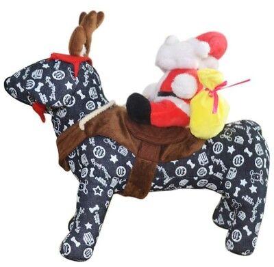 Santa Riding His Reindeer Dog Halloween Costume Size Small Pug French - Pug Santa Costume