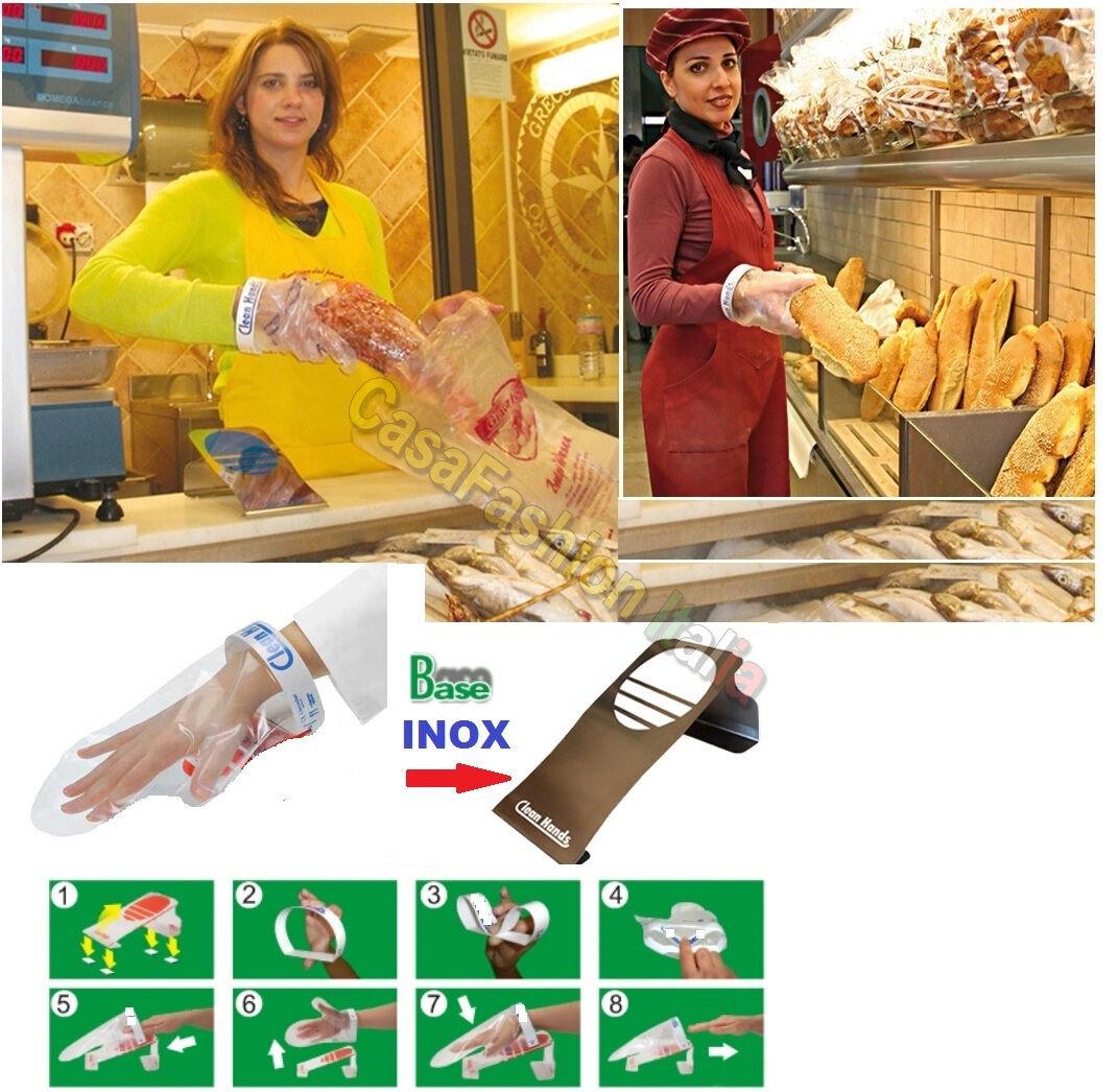 CLEAN HANDS GUANTO MAGNETICO BASE ACCIAIO INOX PROF IGIENE MANI ALIMENTI BANCONE