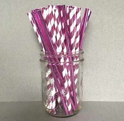 Foil Purple Paper Straws, Foil Purple Drinking Straws, Foil Cake Pop - Paper Straws Purple